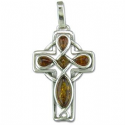 Sterling silver Celtic style cognac amber set cross pendant 5.1g